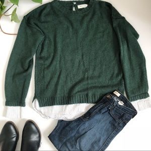 Monteau Green Sweater with Under Blouse